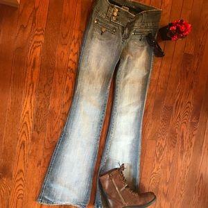 Hydraulic blue faded distress wide leg jeans